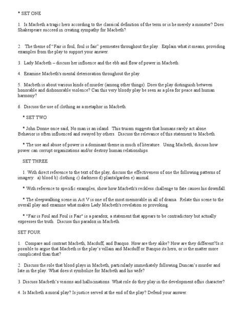 Essay Questions For Macbeth by Macbeth Essay Questions