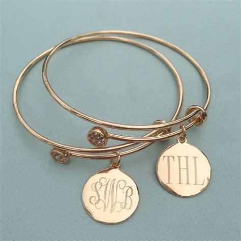 monogram disc adjustable charm bangle bracelet i