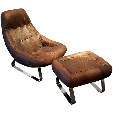 Ottoman With Chair Percival Lafer Leather And Chrome Earth Lounge Chair With Ottoman At 1stdibs