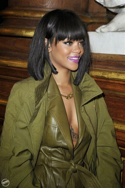 Rihanna Shows Us How Bangs Are Meant To Be Worn by Rihanna Bob With Bangs 2014 Www Pixshark Images