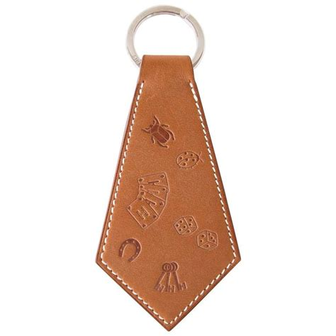 Hermes Lucky Key Ring by Hermes Key Ring Lucky Charms Tab Tie Shaped Embossed