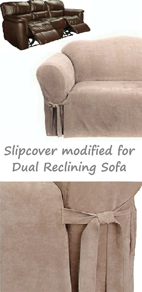 slipcover for dual reclining sofa dual reclining sofa slipcover suede taupe surefit recliner