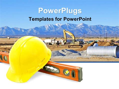 Powerpoint Template Construction Equipment For Work Yellow Construction Hat Level Tool 8352 Powerpoint Templates Building Construction