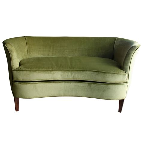 Sculptural 1960s Midcentury Green Velvet Settee At 1stdibs