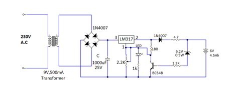 lm317 battery charger circuit diagram lm317 based battery charger with overcharge protection