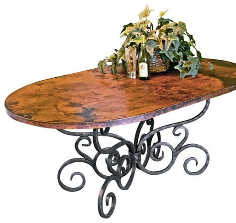 alexander dining table     soft oval copper top