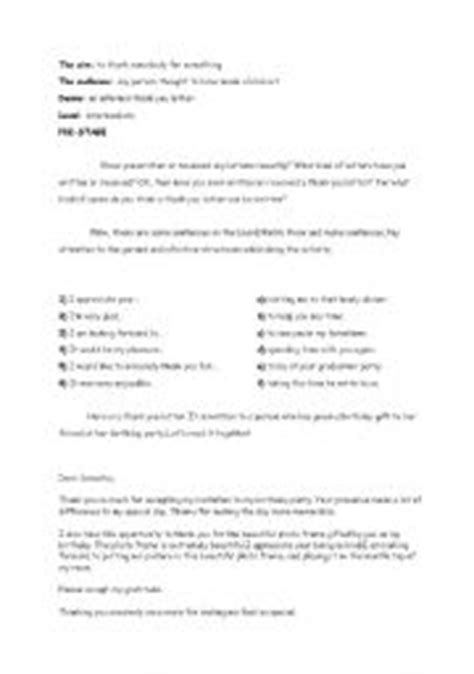 Thank You Letter Lesson Plan Thank You Letter Esl Worksheet Teaching Worksheets Thank You Lettersle Letter For