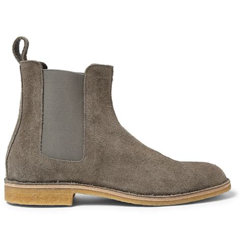 mens chelsea boots lyst bottega veneta suede chelsea boots in gray for