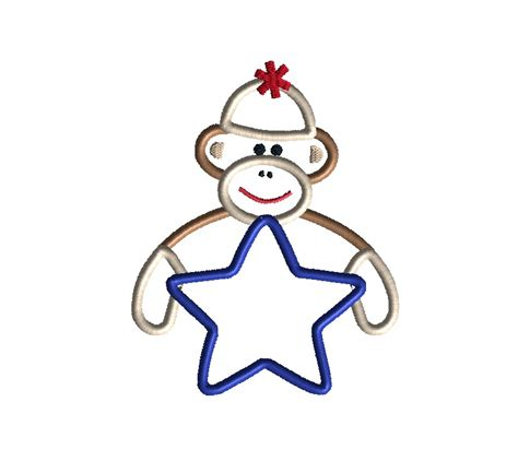 monkey applique sock monkey applique machine embroidery design
