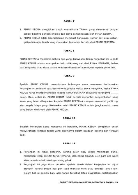 4 surat perjanjian sewa menyewa tanah