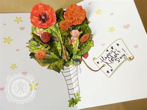 birthday pop up cards templates flower tutorial diy flower bouquet pop up card