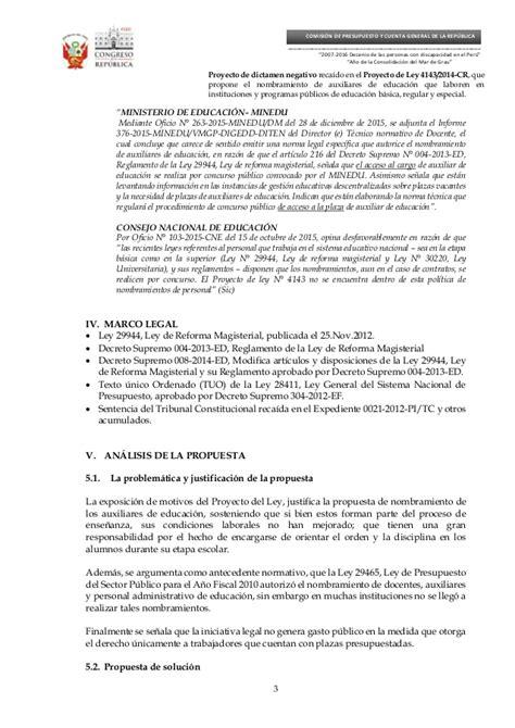 nombramiento de auxiliar de educacion 2016 jmoilcocom comision de presupuesto recomienda no aprobar proyecto de