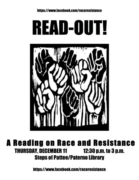read one outs read out a reading on race resistance liberal arts