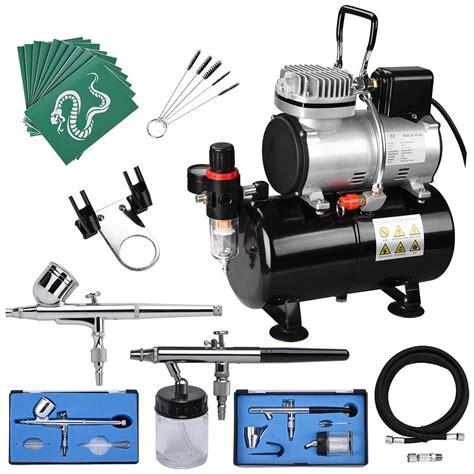 complete airbrush kit as186 compressor tank nail tatoo spray gun incd vat ebay