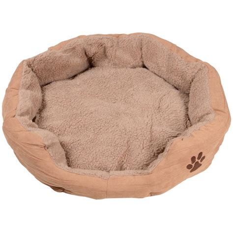 large round dog bed large round faux suede cushioned pet dog bed 70 x 65 x