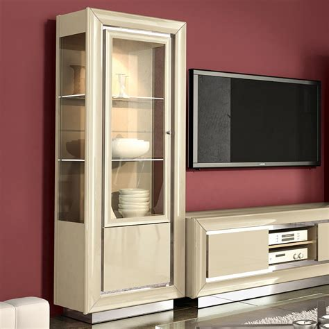 minton ivory high gloss door glass display cabinet interiors