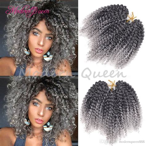 kinky gray hair for braiding curly crochet hair 8 freetress marlybob afro kinky curly