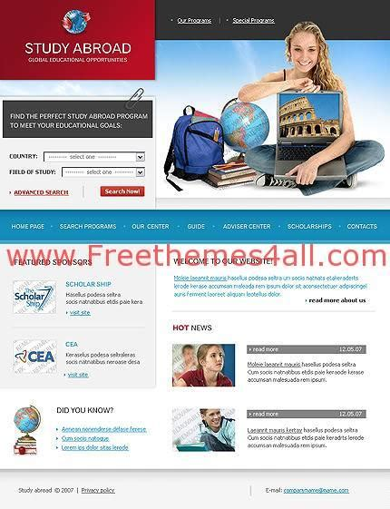 templates for college website free download free web schools college website template freethemes4all