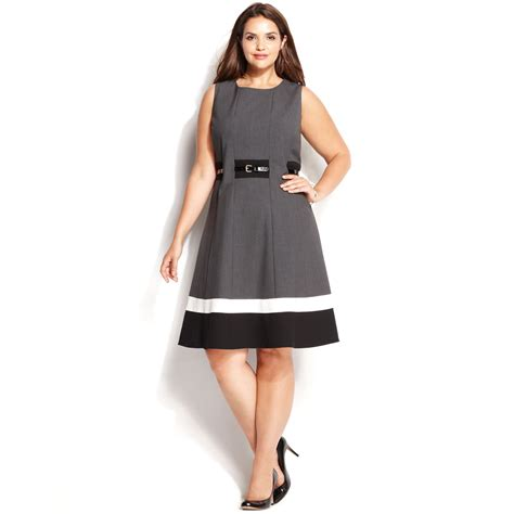 calvin klein plus size colorblock belted dress in black