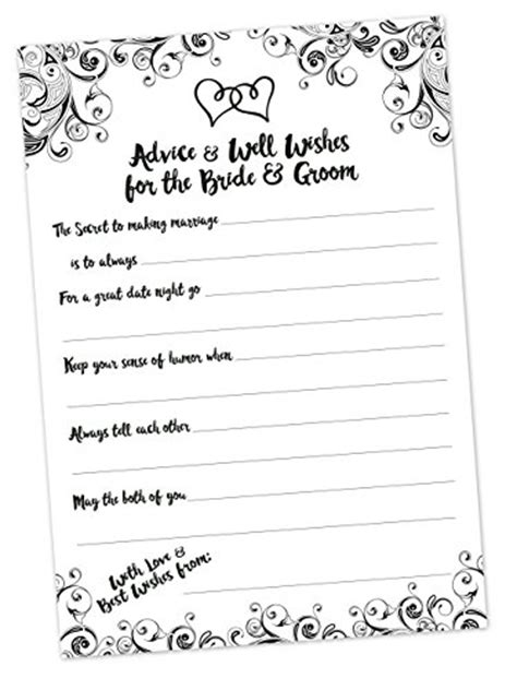 Wedding Advice And Well Wishes Cards by Advice And Well Wishes Cards For The And Groom