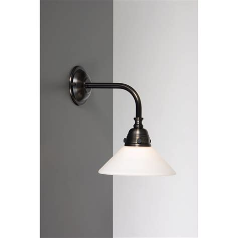 Period Bathroom Lighting Period Bathroom Wall Light In Aged Brass Finish White Shade