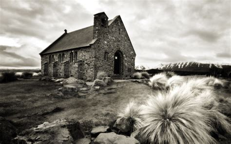 black and white wallpaper nz known places old church new zealand picture nr 42296