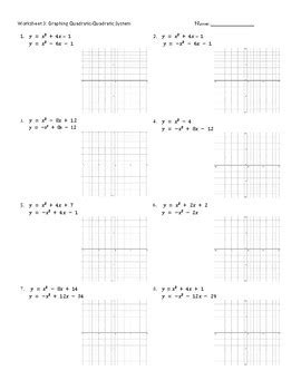 quadratic systems worksheet graphing quadratic systems worksheets practice pages by