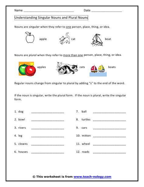 Singular And Plural Nouns Worksheets by Singular And Plural Nouns Worksheets