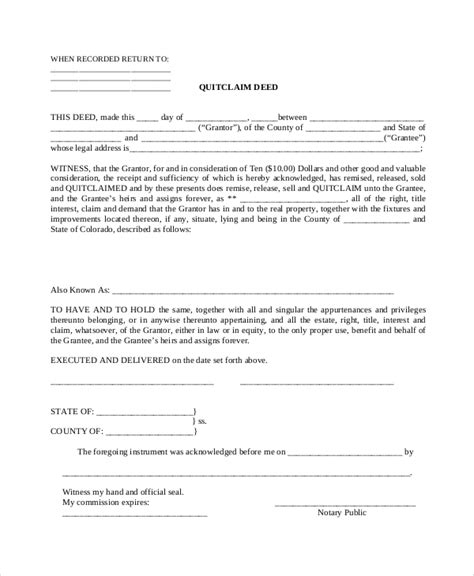 sample quit claim deed forms sample templates