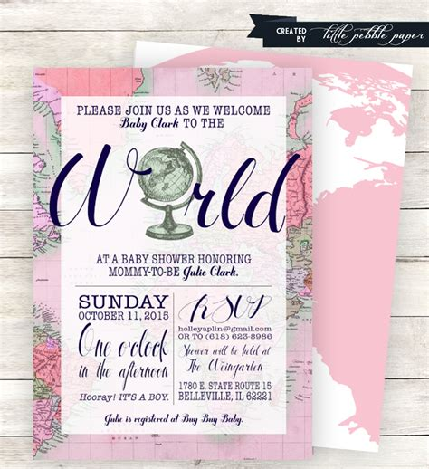 pink welcome to the world baby shower invitation
