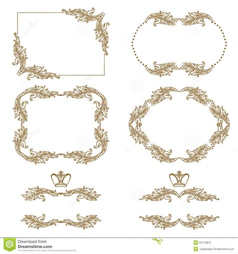 wedding decorative border vector set of gold decorative borders frame stock vector