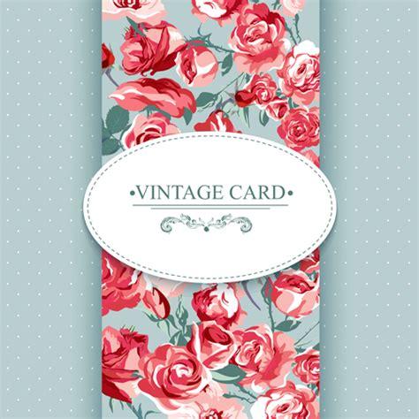 vintage card vintage card with flowers pattern vectors 06 vector card