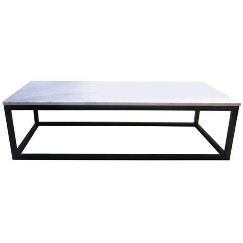 1970s rectangle coffee table marble and square metal