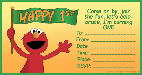 elmo birthday card template free printable sesame 1st birthday invitations