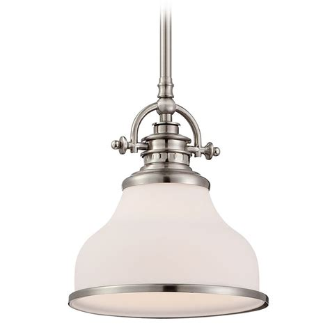 Nickel Pendant Light Quoizel Grant Brushed Nickel Mini Pendant Light Grt1508bn Destination Lighting
