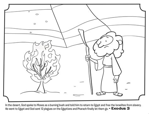 moses and the burning bush bible coloring pages whats