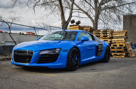 Blue Audi R8 by Shimmer Blue Wrapped Audi R8 Is A Real Stunner Gtspirit