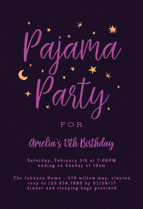 pajama party sleepover party invitation template   island