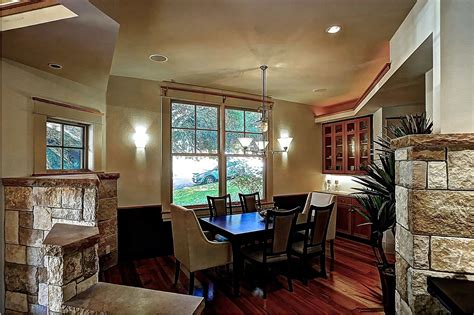 craftsman dining room features stone accents
