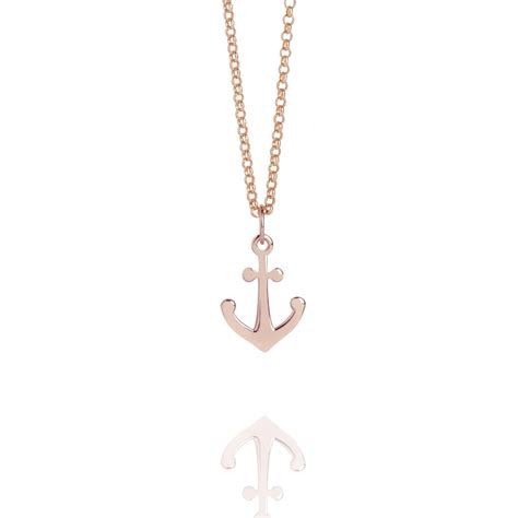 mini anchor charm necklace gold