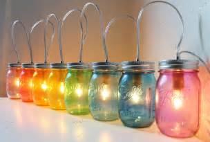 Mason jar banner lights rainbow colored 8 pint jars