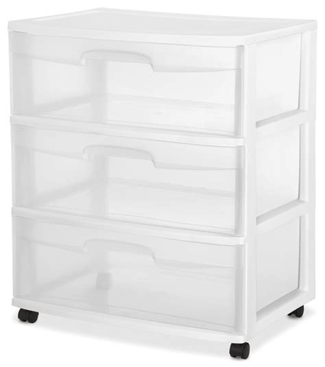 sterilite 29308002 home 3 drawer wide storage cart