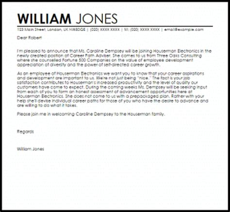 Announcement Letter Samples & Templates   LiveCareer
