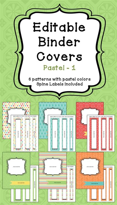 free printable binder covers editable editable binder covers spines in pastel colors part 1