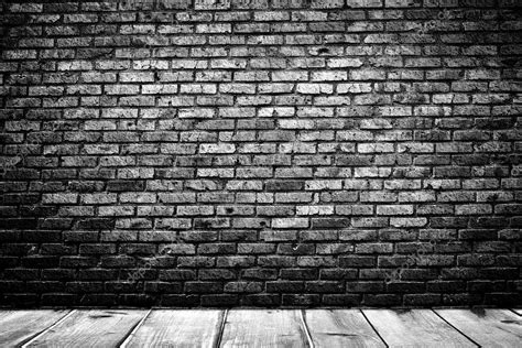 dark brick wall background dark room with wooden floor and brick wall background