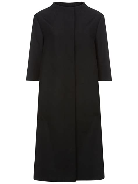 cashmere swing coat jaeger wool cashmere blend swing coat in black lyst