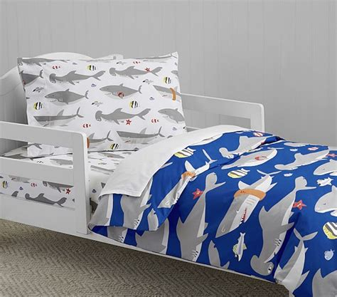 shark bedding shark toddler duvet cover pottery barn kids