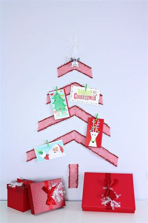 easy diy christmas card holder ribbon tree trees crafts