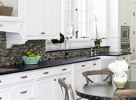 Backsplash For White Cabinets And Black Granite Kitchens With White Cabinets And Black Countertops