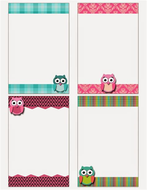 note card template with borders my fashionable designs free printable owl notecards
